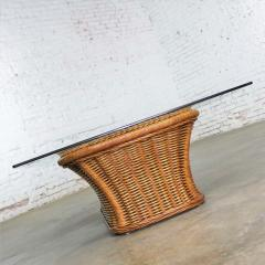 Organic modern woven wicker rattan coffee table with rectangular glass top - 1693146