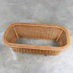Organic modern woven wicker rattan coffee table with rectangular glass top - 1693185