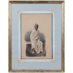 Orientalist watercolor of young African boy - 785746