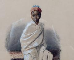 Orientalist watercolor of young African boy - 785747