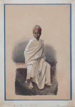Orientalist watercolor of young African boy - 786048