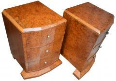 Original 1930s Art Deco Heavily Figured Walnut Bedside Cabinets - 1137183