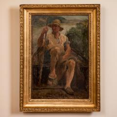 Original Antique Oil Painting Portrait of a Danish Fisherman - 1064216