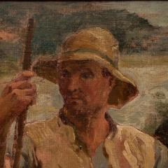 Original Antique Oil Painting Portrait of a Danish Fisherman - 1064219