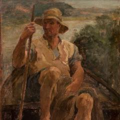 Original Antique Oil Painting Portrait of a Danish Fisherman - 1064221