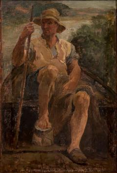 Original Antique Oil Painting Portrait of a Danish Fisherman - 1064342