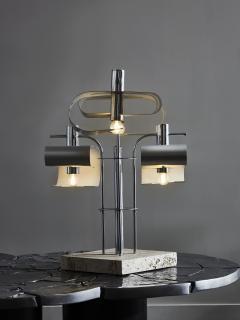 Original Metal Table Lamp with Travertin Foot - 1891502