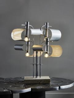 Original Metal Table Lamp with Travertin Foot - 1891504