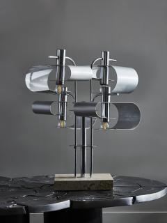 Original Metal Table Lamp with Travertin Foot - 1891506
