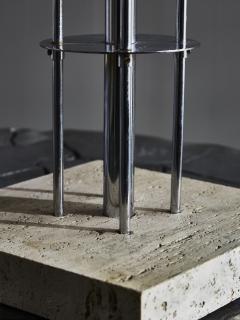 Original Metal Table Lamp with Travertin Foot - 1891509