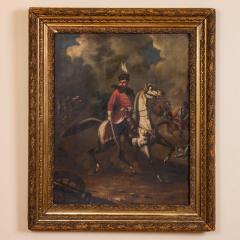 Original Oil Painting Battle Scene of Polish Officer on Horseback - 1072419