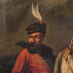 Original Oil Painting Battle Scene of Polish Officer on Horseback - 1072421
