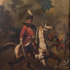 Original Oil Painting Battle Scene of Polish Officer on Horseback - 1072423