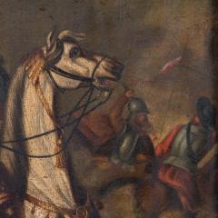 Original Oil Painting Battle Scene of Polish Officer on Horseback - 1072424