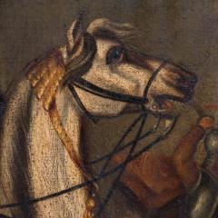 Original Oil Painting Battle Scene of Polish Officer on Horseback - 1072425