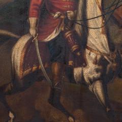 Original Oil Painting Battle Scene of Polish Officer on Horseback - 1072427