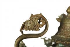 Ornate Standing Bronze Fu Dog Sculpture - 775475