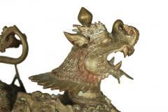 Ornate Standing Bronze Fu Dog Sculpture - 775476