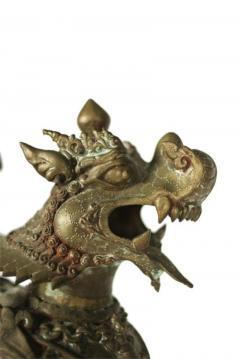 Ornate Standing Bronze Fu Dog Sculpture - 775528