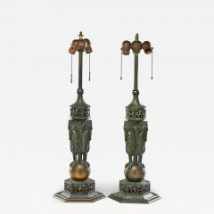 Oscar Bruno Bach Rare pair of bronze patinated table lamp by Oscar Bruno Bach - 1388347