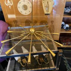 Oscar Torlasco 1960s Mid Century Modern Oscar Torlasco Attributed Sputnik Brass Chandelier - 2132647