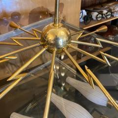 Oscar Torlasco 1960s Mid Century Modern Oscar Torlasco Attributed Sputnik Brass Chandelier - 2132648