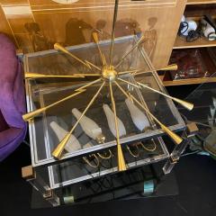 Oscar Torlasco 1960s Mid Century Modern Oscar Torlasco Attributed Sputnik Brass Chandelier - 2132655
