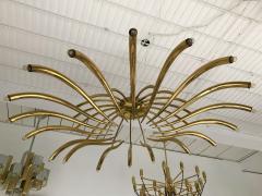 Oscar Torlasco Brass Ceiling Chandelier model 391 by Oscar Torlasco for Lumi Italy 1960s - 839109