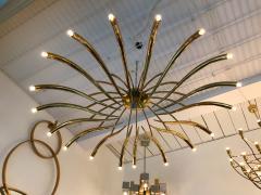 Oscar Torlasco Brass Ceiling Chandelier model 391 by Oscar Torlasco for Lumi Italy 1960s - 839111