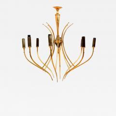 Oscar Torlasco Elegant Airy Chandelier Eight Arms Warm Brass by Oscar Torlasco 1950s Italy - 2093719