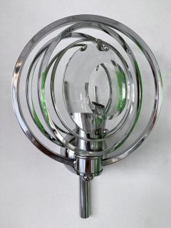 Oscar Torlasco Pair of Optical Metal Chrome Sconces by Oscar Torlasco Italy 1970s - 1600339