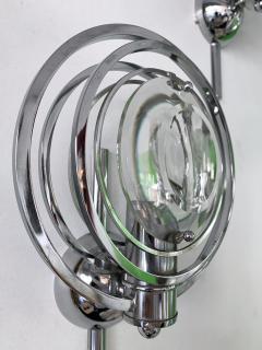 Oscar Torlasco Pair of Optical Metal Chrome Sconces by Oscar Torlasco Italy 1970s - 1600342