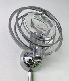 Oscar Torlasco Pair of Optical Metal Chrome Sconces by Oscar Torlasco Italy 1970s - 1600343
