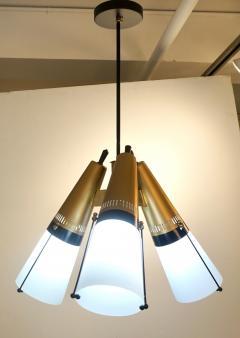 Oscar Torlasco Torlasco 1950s Italian Vintage Brass Black White Three Light Cone Chandelier - 1958672