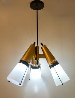 Oscar Torlasco Torlasco 1950s Italian Vintage Brass Black White Three Light Cone Chandelier - 1958673
