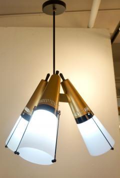 Oscar Torlasco Torlasco 1950s Italian Vintage Brass Black White Three Light Cone Chandelier - 1958674