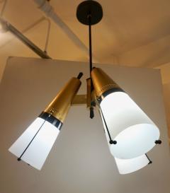 Oscar Torlasco Torlasco 1950s Italian Vintage Brass Black White Three Light Cone Chandelier - 1958676
