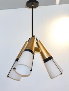 Oscar Torlasco Torlasco 1950s Italian Vintage Brass Black White Three Light Cone Chandelier - 1958677