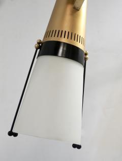 Oscar Torlasco Torlasco 1950s Italian Vintage Brass Black White Three Light Cone Chandelier - 1958682