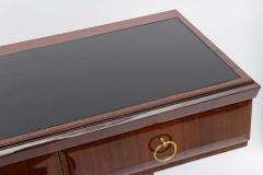 Osvaldo Borsani Fine Italian Modern Mahogany Brass and Glass Console - 104942
