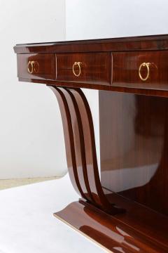 Osvaldo Borsani Fine Italian Modern Mahogany Brass and Glass Console - 104946