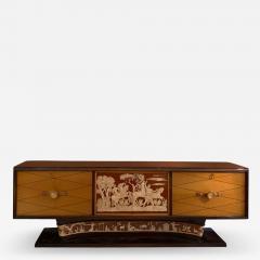 Osvaldo Borsani MAGNIFICIENT ITALIAN ART DECO DECORATED MAHOGANY SIDEBOARD - 1995187