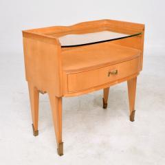 Osvaldo Borsani Osvaldo Borsani Elegant Maple Blonde Brass Nightstand Glass Top ITALY 1940s - 1633109