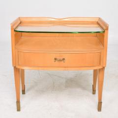 Osvaldo Borsani Osvaldo Borsani Elegant Maple Blonde Brass Nightstand Glass Top ITALY 1940s - 1633110