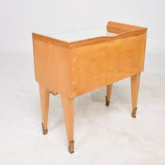 Osvaldo Borsani Osvaldo Borsani Elegant Maple Blonde Brass Nightstand Glass Top ITALY 1940s - 1633111