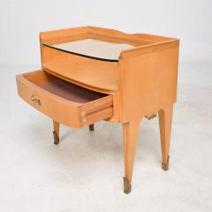 Osvaldo Borsani Osvaldo Borsani Elegant Maple Blonde Brass Nightstand Glass Top ITALY 1940s - 1633116