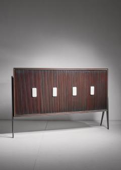 Osvaldo Borsani Osvaldo Borsani Large Mahogany Sideboard with Alabaster Grips Italy 1950s - 877076