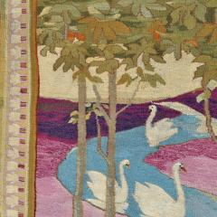 Otto Eckmann Art Nouveau Tapestry AFter Five Swans by Otto Eckmann Germany - 243233