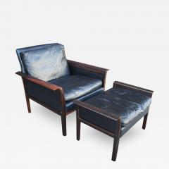 Otto Hans Olsen Rosewood Leather Lounge Chair And Ottoman By Otto Hans Olsen  For Vatne M