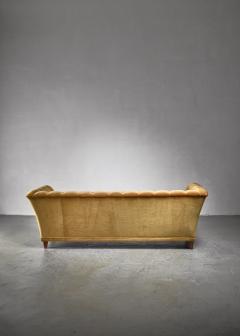 Otto Schultz Otto Schulz tufted golden yellow plush three seater sofa Sweden - 1174590